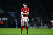 Rhys Patchell of Wales looks on.  England v Wales, NatWest 6 nations 2018 championship match at Twickenham Stadium in Middlesex, England on Saturday 10th February 2018.<br /> pic by Andrew Orchard, Andrew Orchard sports photography