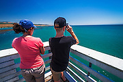 Whale watching from the San Simeon Pier, Hearst San Simeon State Park, California USA