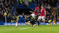 Football - 2019 / 2020 Premier League - Chelsea vs. Manchester United<br /> <br /> Chelsea see their second goal of the evening ruled out after Olivier Giroud (Chelsea FC) scores with a diving header which was disallowed by VAR for offside at Stamford Bridge <br /> <br /> COLORSPORT/DANIEL BEARHAM
