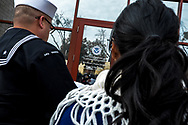 U.S. Navy veteran Joaquin Antonio Sotelo Tarin, 37, and his wife Araceli Martinez, 32, arrive at a U.S. Immigration and Customs Enforcement field office for a scheduled check-in in Fresno, California, Tuesday, February 12, 2019.<br /> <br /> Sotelo Tarin, 37, arrived to the United States from México at age 10 and later became a lawful permanent resident. He enlisted in the U.S. Navy at age 19 and served from 2001 to 2006 on board the USS Tarawa including deployments to Iraq, Kuwait and Afghanistan in support of Operation Enduring Freedom and Operation Iraqi Freedom.