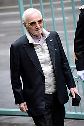 French singer Charles Aznavour arrives at the residence of French Ambassador to Armenia Jean-Francois Charpentier for a breakfast, as part of the Armenian Genocide Centennial Commemoration, in Yerevan, Armenia on April 24, 2015. Photo by Nicolas Briquet/ABACAPRESS.COM