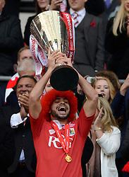 Bristol City's Derrick Williams lifts the JPT trophy  - Photo mandatory by-line: Joe Meredith/JMP - Mobile: 07966 386802 - 22/03/2015 - SPORT - Football - London - Wembley Stadium - Bristol City v Walsall - Johnstone Paint Trophy Final