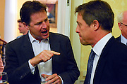 © Licensed to London News Pictures. 11/09/2013. London, UK Nick Clegg talks with Hugh Grant (right) The Deputy Prime Minister, Nick Clegg, hosts a reception at Admiralty House in Whitehall this evening, 11 September 2013, to celebrate the government's progress in equal marriage. From next year gay people will be able to get married. A number of high profile guests including openly supportive celebrities, campaigners, religious figures and charities were in attendance.<br /> The London Gay Men Chorus Ensemble performed at the event. . Photo credit : Stephen Simpson/LNP