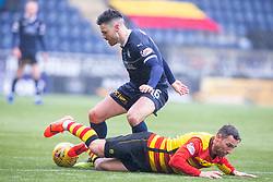 Falkirk's Ian McShane over Partick Thistle's Scott McDonald. Falkirk 1 v 1 Partick Thistle, Scottish Championship game played 16/3/2019 at The Falkirk Stadium.