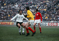Gordon Banks (England) and Gerd Muller (West Germany). West Germany v England. 1/4 European Nations Championship, 13/05/1972. Credit: Colorsport