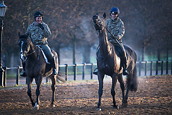 © Licensed to London News Pictures. 22/01/2021. London, UK. Steam rises from horses as they are exercised by members of the Household Cavalry in Hyde Park, central London on a cold and frosty winter morning. Parts of the UK are currently experiencing heavy flooding caused by rainfall during storm Christoph.  Photo credit: Ben Cawthra/LNP