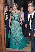 Staatsbezoek van Koning Willem Alexander en Koningin Máxima, aan de Portugese Republiek.<br /> <br /> Statevisit of King Willem Alexander and Queen Maxima to the republic of Portugal<br /> <br /> Op de foto / On the photo: Staatsbanket in de Palácio da Ajuda