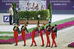 Spain Team, (ESP), Rubin Royal<br /> Female Squad Final Freestyle Test<br /> FEI European Championships - Aachen 2015<br /> © Hippo Foto - Dirk Caremans<br /> 23/08/15