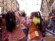 Chinese children having fun during Chinese New Year celebration Chinatown New York City