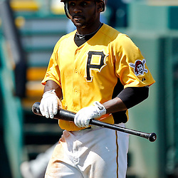 February 25, 2011; Bradenton, FL, USA; Pittsburgh Pirates outfielder Corey Wimberly (76) during a spring training exhibition game against the State College of Florida Manatees at McKechnie Field. The Pirates defeated the Manatees 21-1. Mandatory Credit: Derick E. Hingle