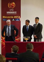 Jim Boyce, Saso Udovic and Marko Simeunovic at Final Round Draw of 11th UEFA European Under-17 Championship 2011/12, on April 4, 2012, in Ljubljana, Slovenia. (Photo by Vid Ponikvar / Sportida.com)