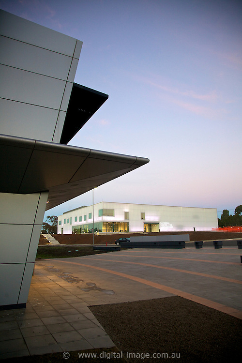 Main building of the Australian Synchrotron with the National Centre for Synchrotron Science, NCSS, in the background