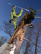 Jarred handplants as Marc Tremain reaches out at top of tree