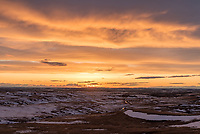It was cloudy most of the day as I drove to the remote Diamond Butte in southeast Montana. But just before sunset, the sun emerged. The entire sky turned some shade of gold, orange, or pink. It was the best sunset I've seen for quite awhile.