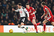 Derby County defender Richard Keogh (6) battles with Cardiff City defender Greg Halford (15)  during the EFL Sky Bet Championship match between Derby County and Cardiff City at the Pride Park, Derby, England on 14 February 2017. Photo by Jon Hobley.