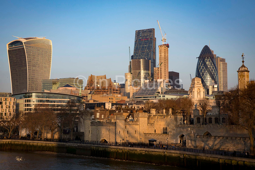London skyline showing the Tower of London, the 'Walkie Talkie' on 20 Fenchurch Street, The Leadenhall Building, and the 'Gherkin' on 30 St Mary Axe in London, United Kingdom.
