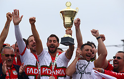 June 9, 2018 - London, England, United Kingdom - Padania players celebrate with Trophy after winning the Final.during Conifa Paddy Power World Football Cup 2018 Bronze Medal Match Third Place Play-Off between Padania v Szekely Land at Queen Elizabeth II Stadium (Enfield Town FC), London, on 09 June 2018  (Credit Image: © Kieran Galvin/NurPhoto via ZUMA Press)