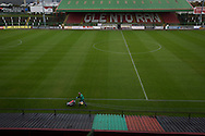 The club's groundsman lining the pitch at The Oval, Belfast, pictured before Glentoran hosted city-rivals Cliftonville in an NIFL Premiership match. Glentoran, formed in 1892, have been based at The Oval since their formation and are historically one of Northern Ireland's 'big two' football clubs. They had an unprecendentally bad start to the 2016-17 league campaign, but came from behind to win this fixture 2-1, watched by a crowd of 1872.