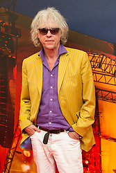 © Licensed to London News Pictures . 09/08/2015 . Siddington , UK . BOB GELDOFF back stage . The Rewind Festival of 1980s music , fashion and culture at Capesthorne Hall in Macclesfield . Photo credit: Joel Goodman/LNP