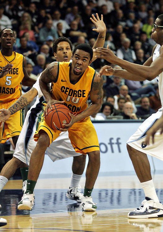 Jan 5, 2012; Norfolk, VA, USA; George Mason Patriots guard Sherrod Wright (10) drives the ball down the lane against the Old Dominion Monarchs at the Ted Constant Convocation Center. Mandatory Credit: Peter Casey-US PRESSWIRE