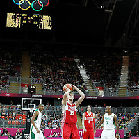 02 August 2012: Russia Andrei Kirilenko is seen at the free throw line during 75-74 Team Russia victory over Team Brazil, during the men's basketball preliminary, at the Basketball Arena, in London, Great Britain.
