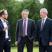 28/08/2015             <br /> Pharmaceutical Manufacturing Technology Centre (PMTC) Knowledge day at the Kemmy Business School, University of Limerick.    <br />  Pictured at the event were, Martin Wallace, GSK, Charles Gordon, Britest and Stan O'Neill, The Compliance Group. Picture: Alan Place