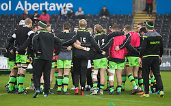 Northampton Saints players huddle during the pre match warm up<br /> <br /> Photographer Simon King/Replay Images<br /> <br /> EPCR Champions Cup Round 4 - Ospreys v Northampton Saints - Sunday 17th December 2017 - Parc y Scarlets - Llanelli<br /> <br /> World Copyright © 2017 Replay Images. All rights reserved. info@replayimages.co.uk - www.replayimages.co.uk