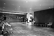 23/05/1963<br /> 05/23/1963<br /> 23 May 1963<br /> The Intercontinental Hotel, Dublin.<br /> Images of the recently opened Intercontinental hotel for the Cork Examiner. Image shows the entrance hall and reception desk.