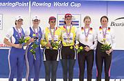 Poznan, POLAND.   2004 FISA World Cup, Malta Lake Course.  <br /> <br /> women's pair W2  medals left to right <br /> <br /> GBR W2- Left Katherine Grainer and Cath Bishop Silver Medal  <br /> [middle] Georeta Andrunache and Viorica Susunu gold medal - <br /> GER W2- bronze Maren Derlien and Sandra Goldbach<br /> 09.05.2004<br /> <br /> [Mandatory Credit:Peter SPURRIER/Intersport Images]