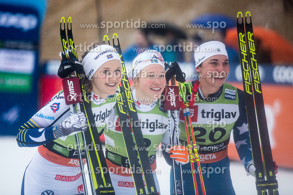 NILLSON Stina (SWE,  SUNDLING Jonna (SWE), KERN Julia (USA) celebrating after the ladies team sprint race at FIS Cross Country World Cup Planica 2019, on December 1, 2019 at Planica, Slovenia. Photo By Peter Podobnik / Sportida