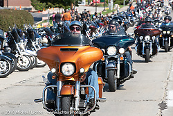 House of Harley-Davidson was one of seven local dealerships that had street parties, bands and 2019 model test rides during the Harley-Davidson 115th Anniversary Celebration event. Milwaukee, WI. USA. Thursday August 30, 2018. Photography ©2018 Michael Lichter.