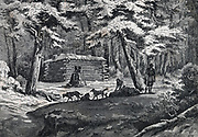 Fur trapper's hut in North America. Engraving 1876.