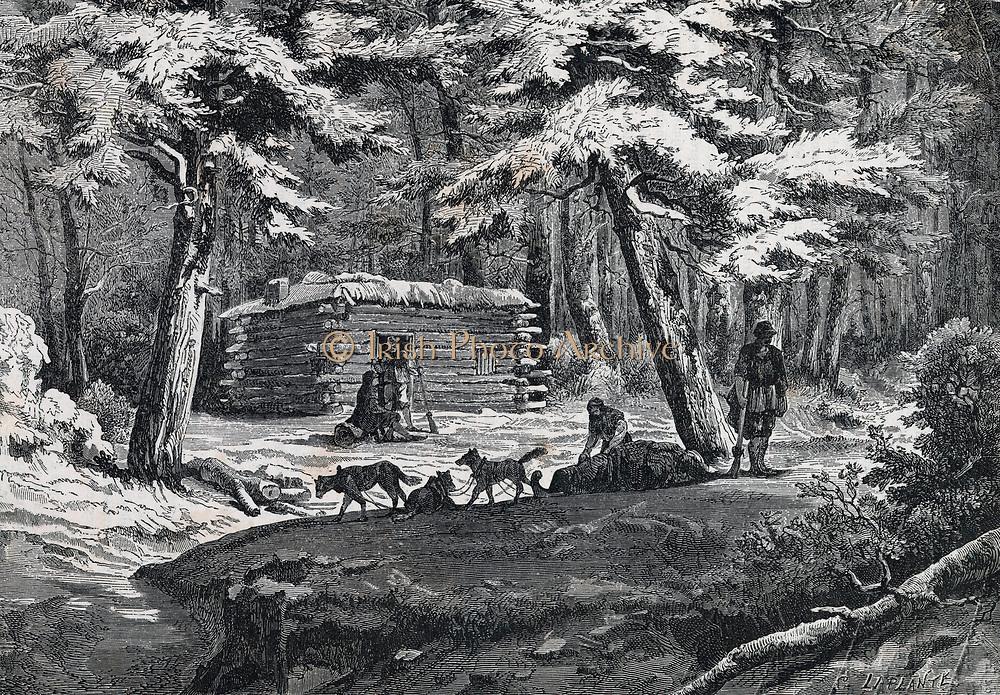 Fur trapper's hut in North America. Engraving 1876.