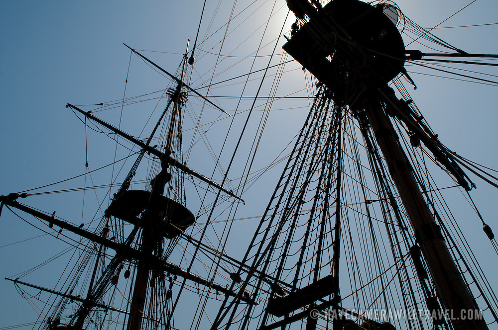 Rigging detail of a full-size replica of Captain James Cook's HMS Endeavour ship on display at the Australian National Maritime Museum at Darling Harbour in Sydney