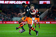 Sheffield Wednesday forward Lucas Joao (19) is tackled by Middlesbrough defender, on loan from Arsenal, Calum Chambers (25)  during the The FA Cup match between Middlesbrough and Sheffield Wednesday at the Riverside Stadium, Middlesbrough, England on 8 January 2017. Photo by Simon Davies.