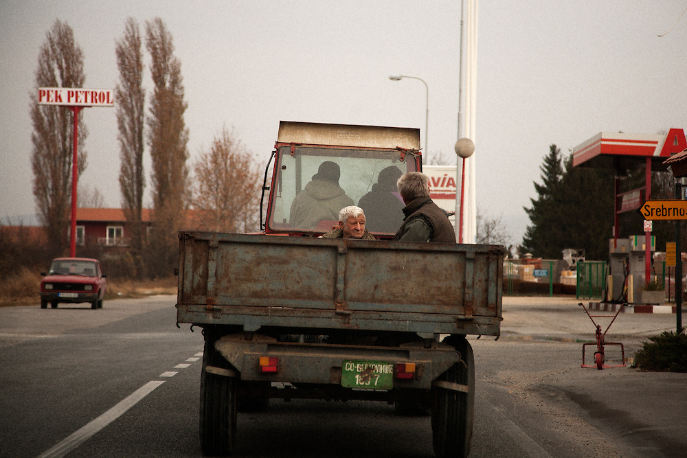 Farmers driving in to the center of Veliko Gradiste, Serbia..Matt Lutton for the Financial Times