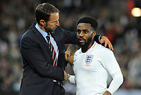 Football - 2018 / 2019 International Friendly - England vs. Switzerland<br /> <br /> England Manager, Gareth Southgate puts his arm round 'Man of the match' Danny Rose, at King Power Stadium.<br /> <br /> COLORSPORT/ANDREW COWIE