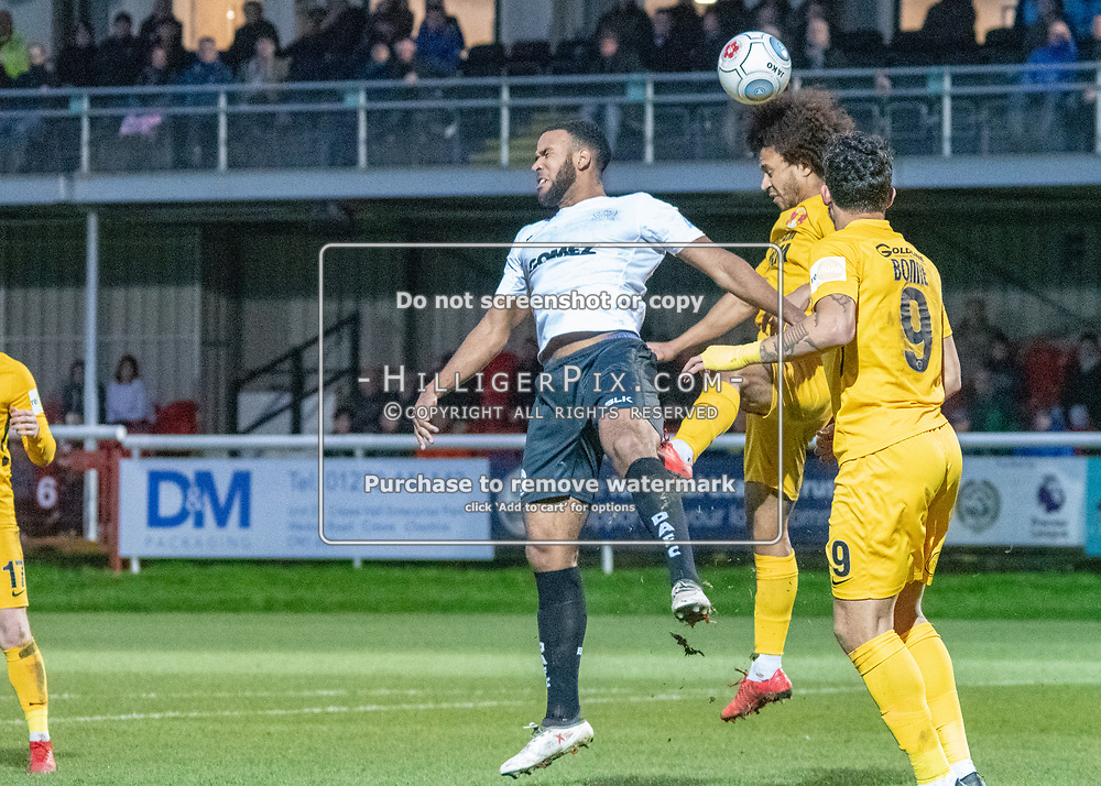 DOVER, UK - DECEMBER 29: The Vanarama National League match between Dover Athletic and Leyton Orient at the Crabble Stadium on December 29, 2018 in Dover, UK. (Photo by Jon Hilliger)