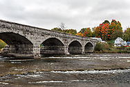 The Five Span Stone Bridge in Pakenham, Ontario, Canada was built in 1901. The historic bridge has five, 12 meter (40') wide arches and is 82 meters (268' feet) long and crosses the Mississippi River. The Pakenham Bridge is the only bridge of this type in North America.