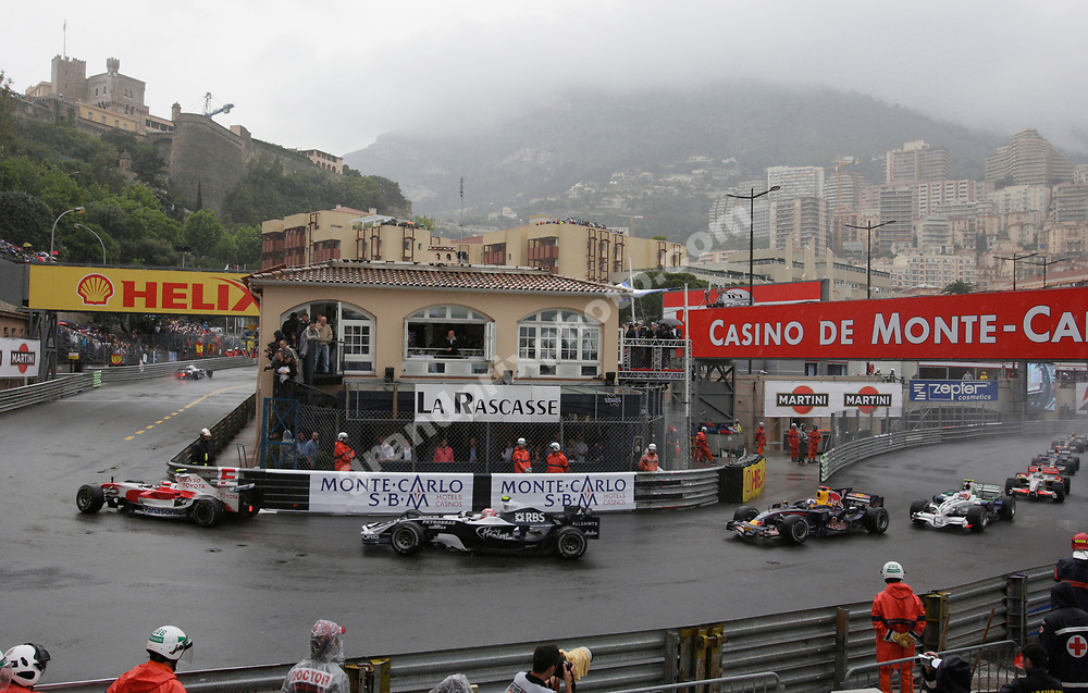 Timo Glock (Toyta) leads a group of cars in the wet 2008 Monaco Grand Prix. Photo: Grand Prix Photo