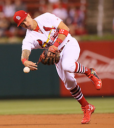 September 12, 2017 - St Louis, MO, USA - St. Louis Cardinals second baseman Kolten Wong throws out the Cincinnati Reds' Stuart Turner in the second inning on Tuesday, Sept. 12, 2017, at Busch Stadium in St. Louis. The Cards won, 13-4. (Credit Image: © Chris Lee/TNS via ZUMA Wire)