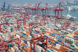 Busy container terminal No.9 in Kwai Chung Hong Kong