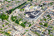 Nederland, Utrecht, Veenendaal, 09-06-2016; centrum van Veenendaal, met onder andere winkelcentrum De Scheepjeshof. <br /> City centre Veenendaal.<br /> The beginning of traffic jam at junction Hoevelaken.<br /> aerial photo (additional fee required);<br /> copyright foto/photo Siebe Swart