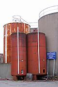 Embres et Castelmaure Cave Cooperative co-operative. Les Corbieres. Languedoc. Painted steel vats. France. Europe.