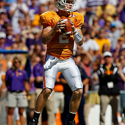 Oct 2, 2010; Baton Rouge, LA, USA; Tennessee Volunteers quarterback Matt Simms (2) looks to pass against the LSU Tigers during the first half at Tiger Stadium.  Mandatory Credit: Derick E. Hingle