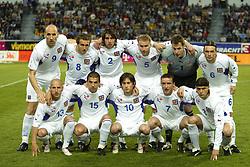 TEPLICE, CZECH REPUBLIC - Wednesday, April 30, 2003: Czech Republic team line up before  a friendly match at the Teplice Stadion Na Stinadlech.<br /><br />Back row (l-r): Jan Koller, Karel Poborsky (captain), Zdenik Grygera, René Bolf, Petr Cech, Marek Jankulovski. Front row (l-r): Patrik Gedeon, Milan Baros, Tomas Rosicky, Vladimir Smicer, Tomas Ujfalusi. (Pic by David Rawcliffe/Propaganda)