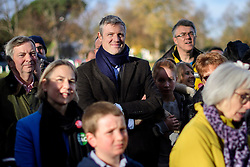 """© Licensed to London News Pictures. 19/11/2016. Richmond, UK. Former conservative MP ZAC GOLDSMITH (centre)  attends the rally. . Campaigners take part in a demonstration against the expansion of Heathrow Airport and the building of a third runway. Former conservative MP Zac Goldsmith is due to take part in a series of events in which some activists have threatened """"direct action"""". Photo credit: Ben Cawthra/LNP"""