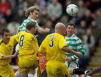 Clyde v Celtic, ScottishCup  quarter final, Broadwood Stadium, Cumbernauld. Sunday 27/02/2005<br /> Stan Varga heads Celtic into the lead