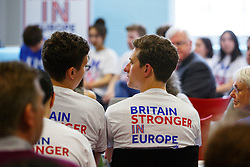 © Licensed to London News Pictures. 28/05/2016. London, UK. Young people waiting for former Labour leader ED MILIBAND to speak at a Britain Stronger in Europe event in central London on Saturday, 28 May 2016. Photo credit: Tolga Akmen/LNP