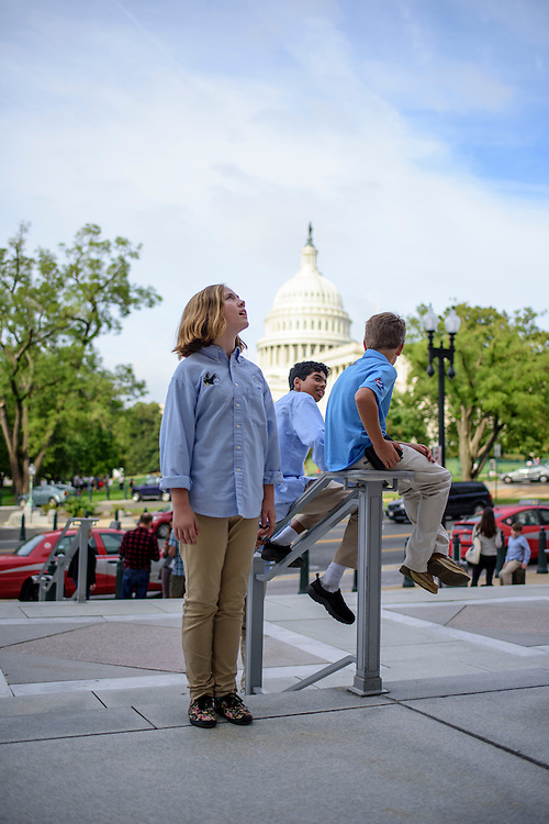 Washington, D.C. - October 07, 2016: Lily Brown marvels at the enormity of the Rayburn House Office Building.<br /> <br /> The Hyperbolics are a First Lego League team based out of Sterling School in Greenville SC, who made a trip to DC ask government officials to ban lead wheel weights Friday October 7, 2016.<br /> <br /> <br /> CREDIT: Matt Roth for Earthjustice